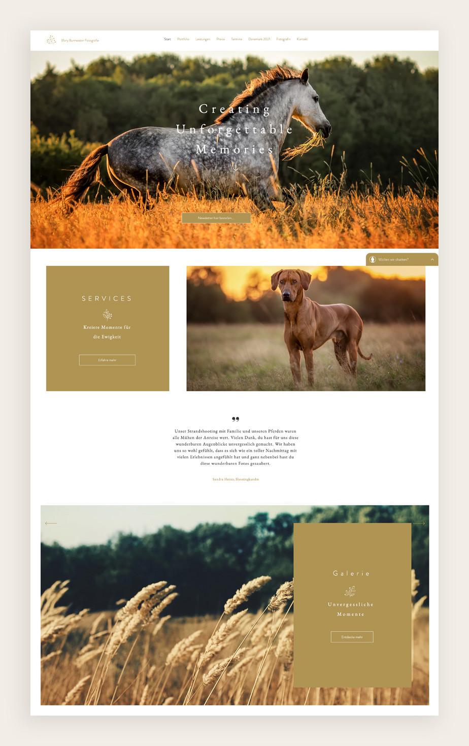 Website von Mary Burmeister Fotografie als Beispiel für eine tolle Website mit Buchungsoptionen