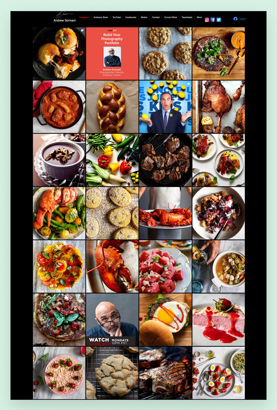 Screenshot da página inicial do site de portfolio do fotógrafo de gastronomia Andrew Scriviani