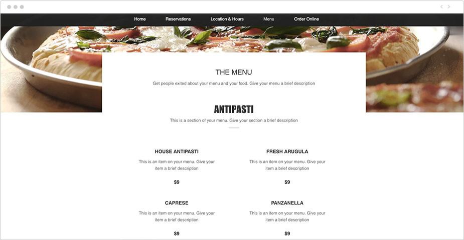 Template di menu online di un ristorante italiano