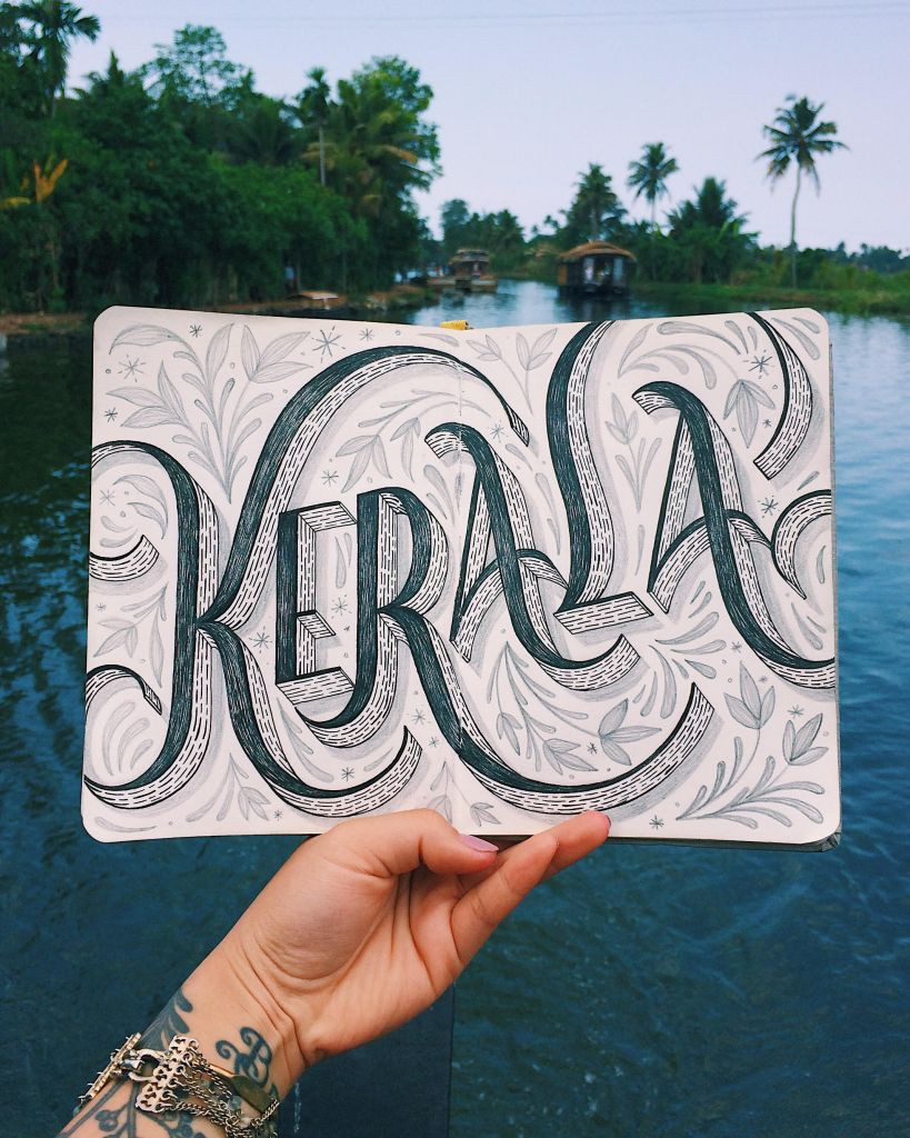 Kerala hand lettering by Lauren Hom