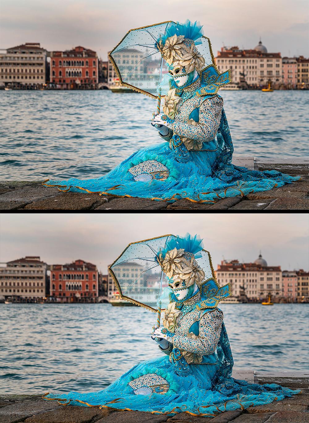 Zwei Ansichten eines Fotos einer Frau mit blauem venezianischen Kostüm in zwei verschiedenen Stadien der Bildbearbeitung