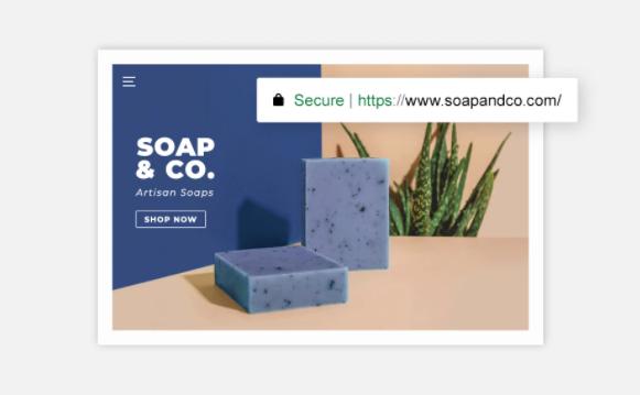 Screenshoot der Startseite eines Online-Seifengeschäfts als Beispiel für einen Online-Shop