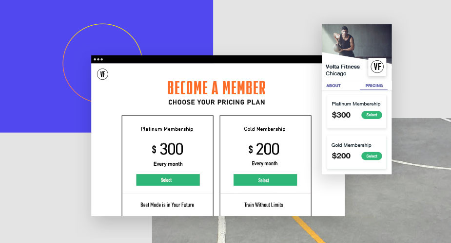 pricing plans for fitness business with wix fitness