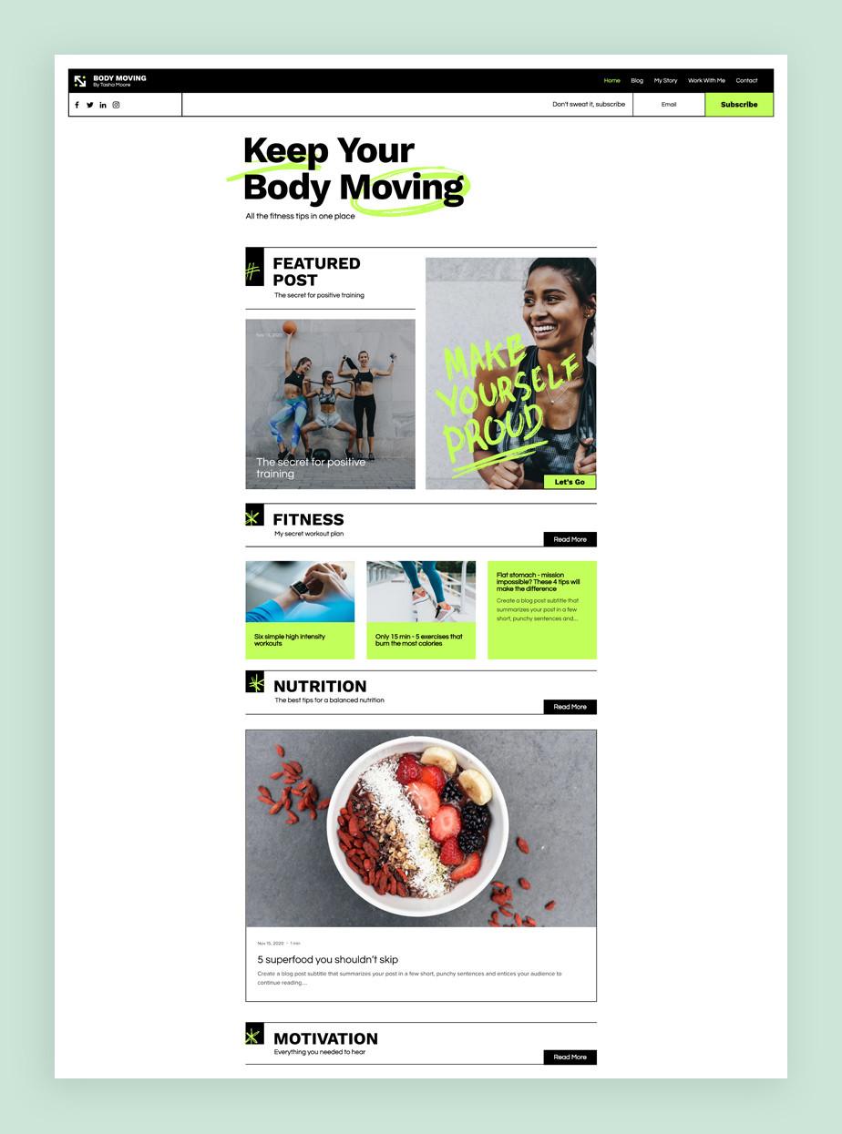 Najlepsze szablony blogów: szablon bloga fitness