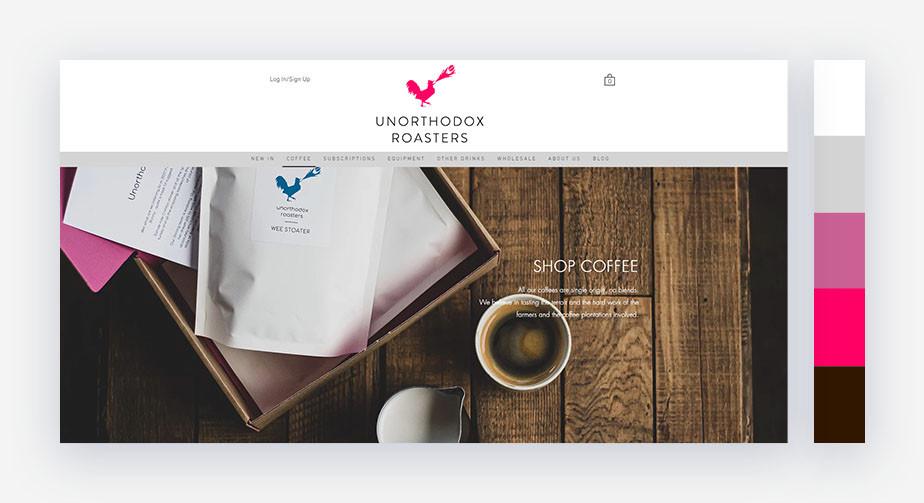50 paletas de cores para o seu site: magenta com escala de cinza