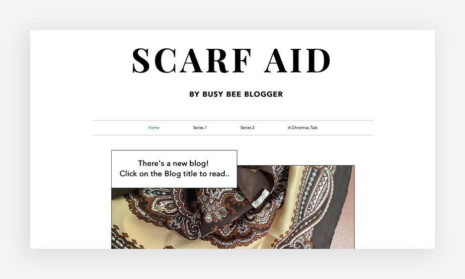 다채로운 실크 스카프를 새 블로그 마다 바꿔 보여주는 스카프 에이드의 웹사이트