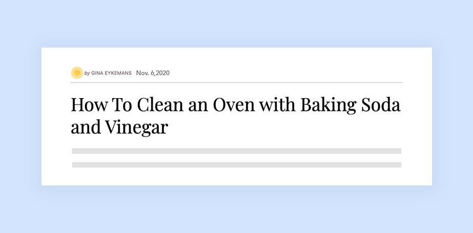 지나 아이크만 블로거의 콘텐츠 헤드라인 '베이킹 소다와 식초를 사용한 오븐 청소 방법'