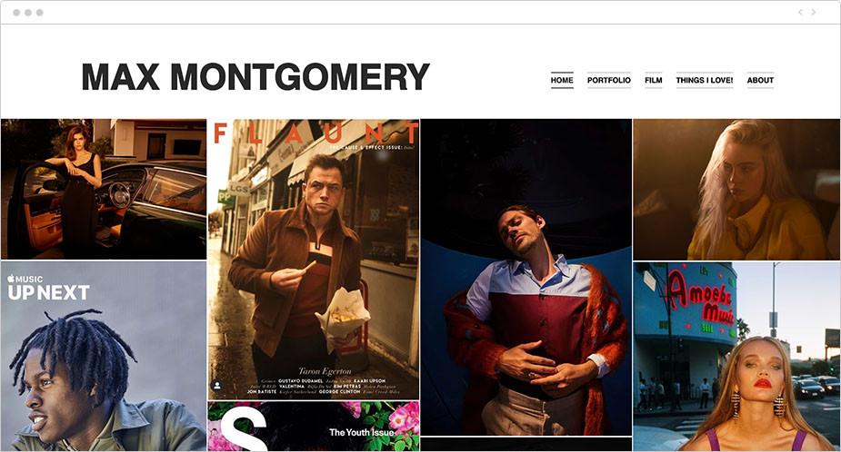 Fotos de la web de wix de Max Montgomery
