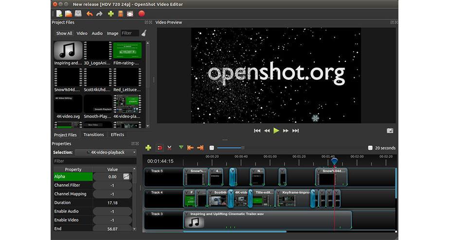 logiciel montage video gratuit - Openshot