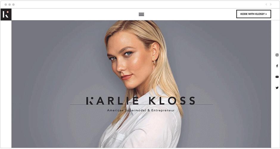 Karlie Kloss: esempi di parallasse