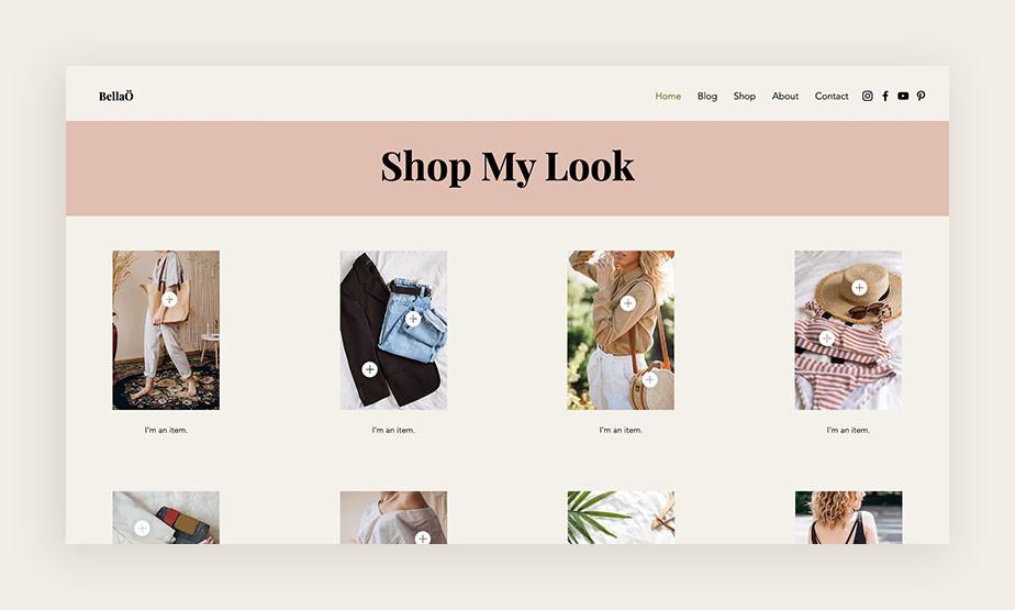 블로그와 관련된 제품을 판매하는 온라인 쇼핑몰 페이지 이미지