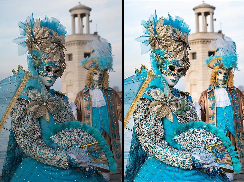 Zwei Ansichten eines Fotos zweier Menschen in venezianischen Masken in zwei verschiedenen Stadien der Bildbearbeitung
