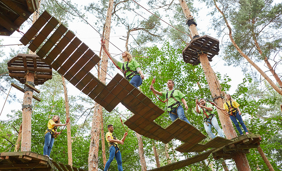 ropes courses are a great team building activity