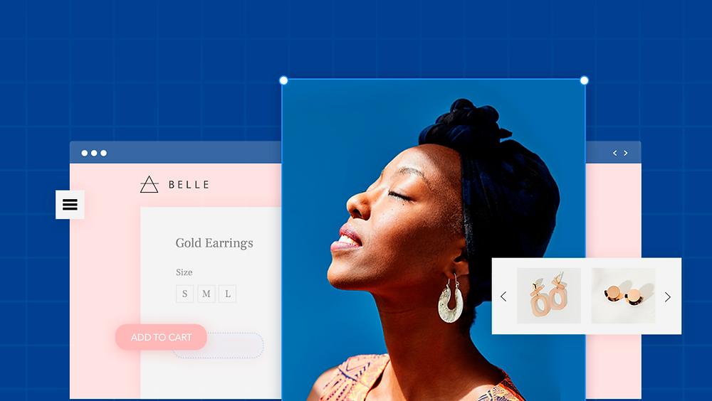 Site internet de vente en ligne de bijoux avec une femme portant des boucles d'oreilles