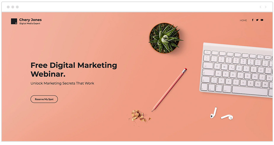 Ejemplo de contenido de sección superior de una página web