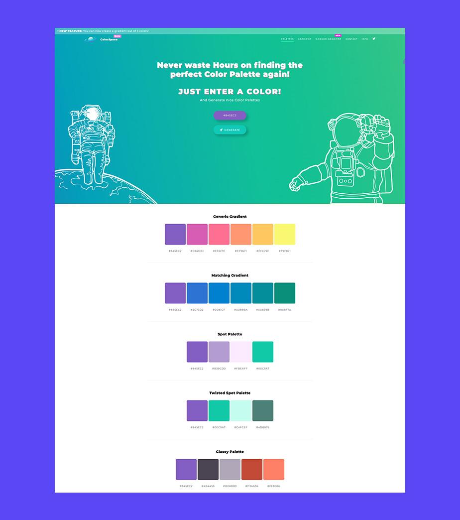 Создание цветовой палитры для сайта — ColorSpace