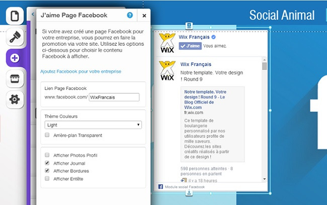 Page Facebook de Wix
