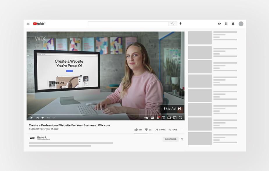 Przykład reklamy w internecie – YouTube