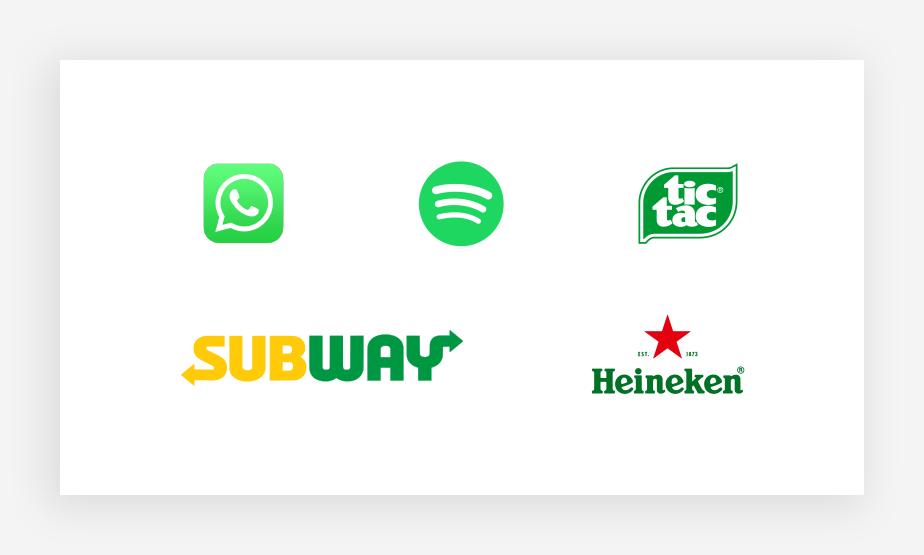 Verschiedene grün Logos