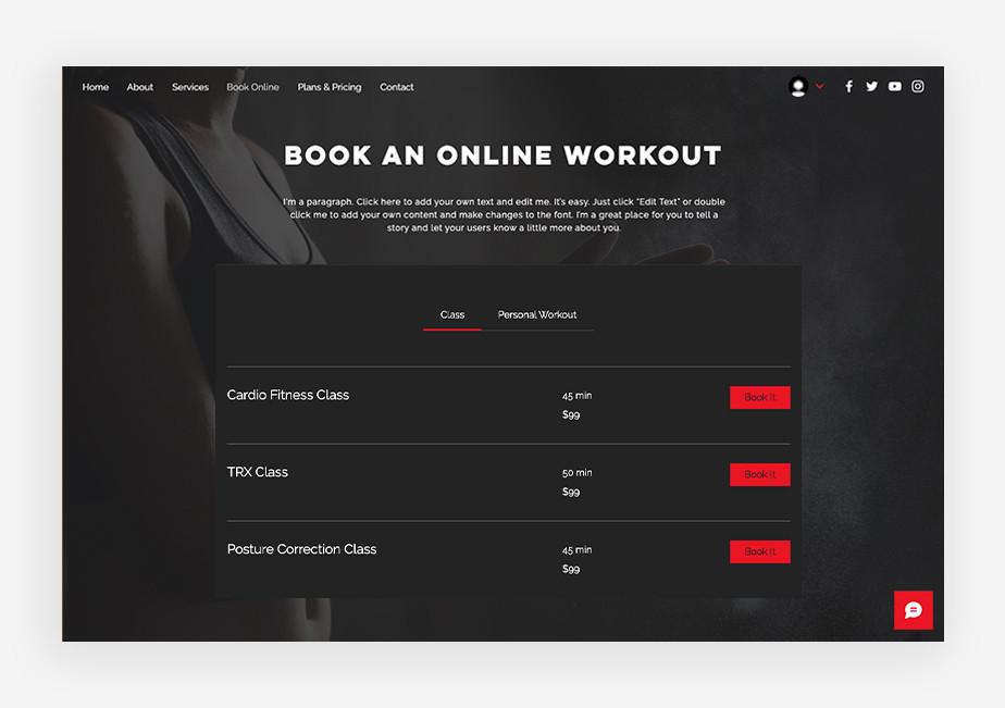 szablon strony internetowej fitness – dobry ux design i funkcja rezerwacji