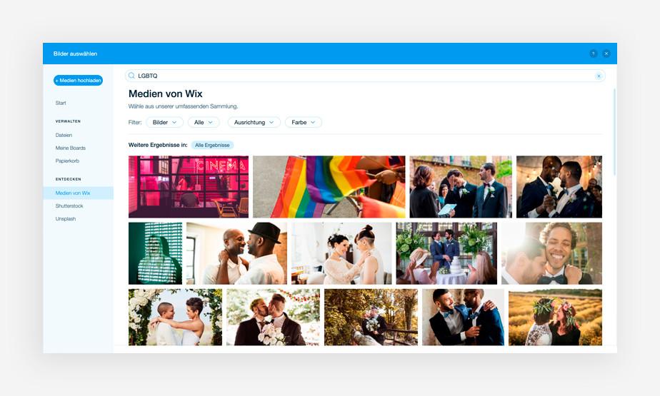 Ansicht der Medienverwaltung von Wix mit kostenlosen Bildern der LGBTQ+ Community