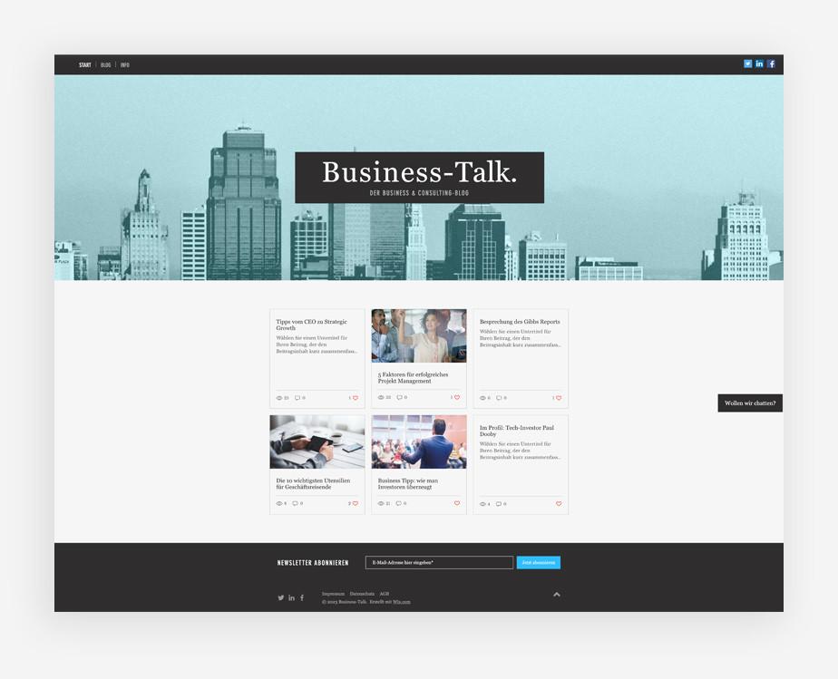 Blog Template von Wix für einen Unternehmens Blog