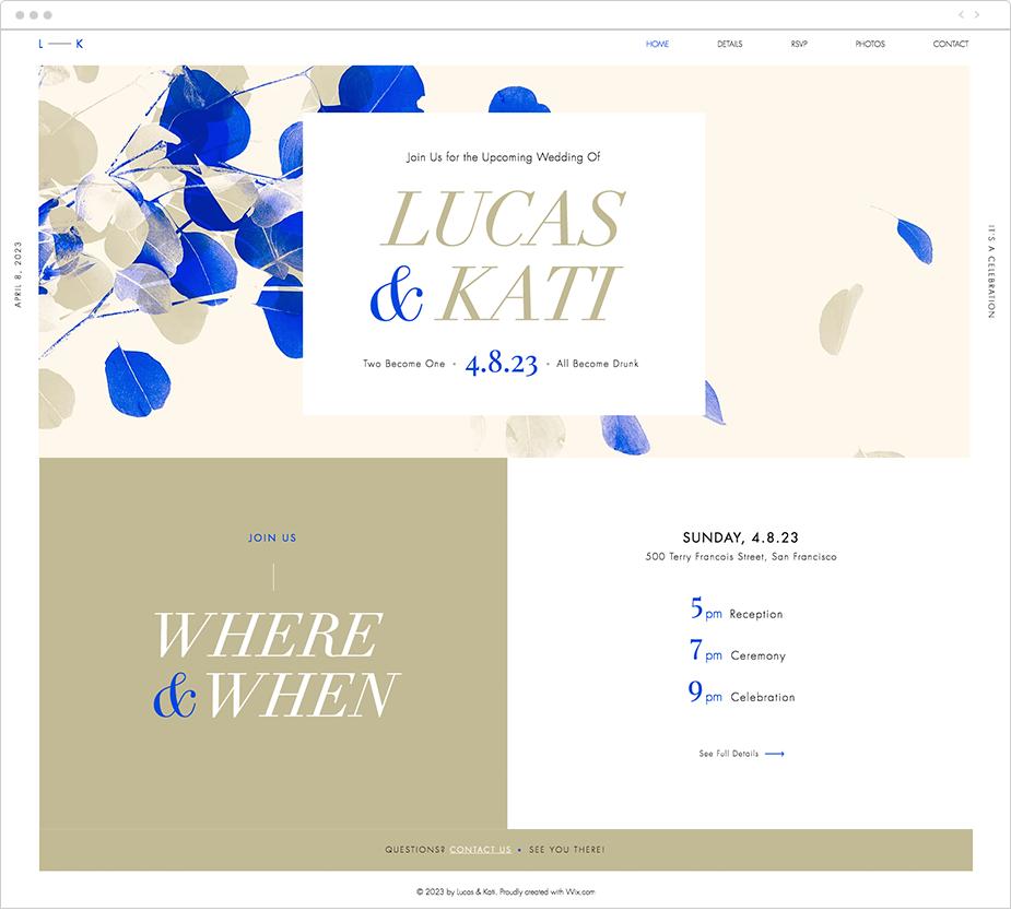 wix wedding website template