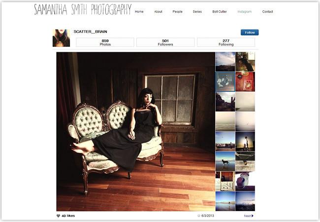 Сайт Wix со вставленным приложением Instagram