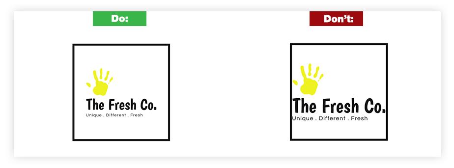 Ein Beispiel für ein gutes Logo und ein schlechtes Logo zum Thema Rand und Rahmen