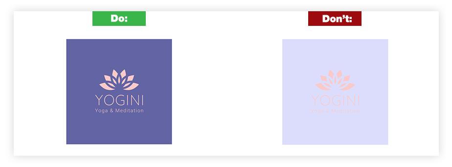 Ein Beispiel für ein gutes Logo und ein schlechtes Logo zum Thema Farben und Hintergrundkontraste