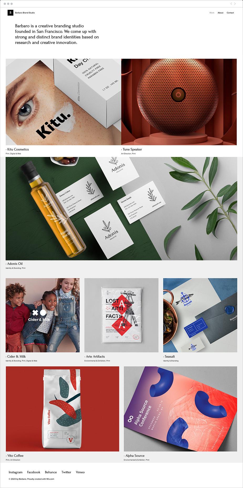 Site pour un studio de design