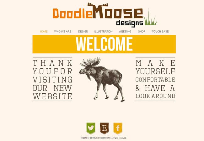 Креативное и в то же время грамотное использование шрифтов на сайте DoodleMoose