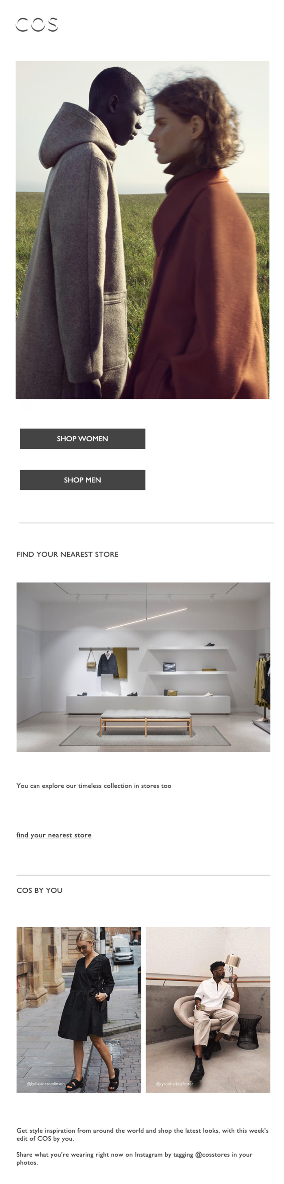 Welcome email by COS