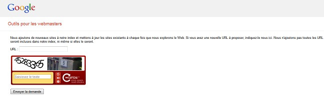 Capture d'écran du service pour webmaster de Google
