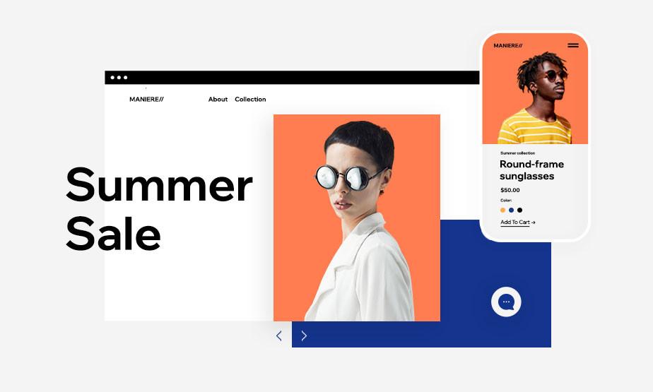 깔끔한 텍스트와 색상 대비가 옅보이는 배경 화면에 놓여있는 선글라스를 낀 여성과 남성의 모습