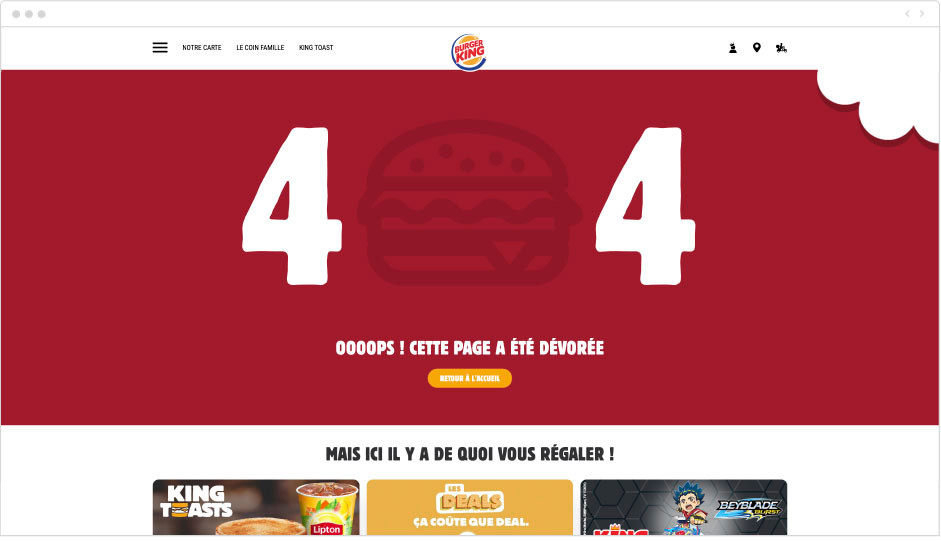 Burger King - page erreur 404