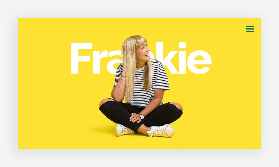 상큼한 레몬색으로 방문자를 맞이하는 프랭키의 원페이지 웹사이트