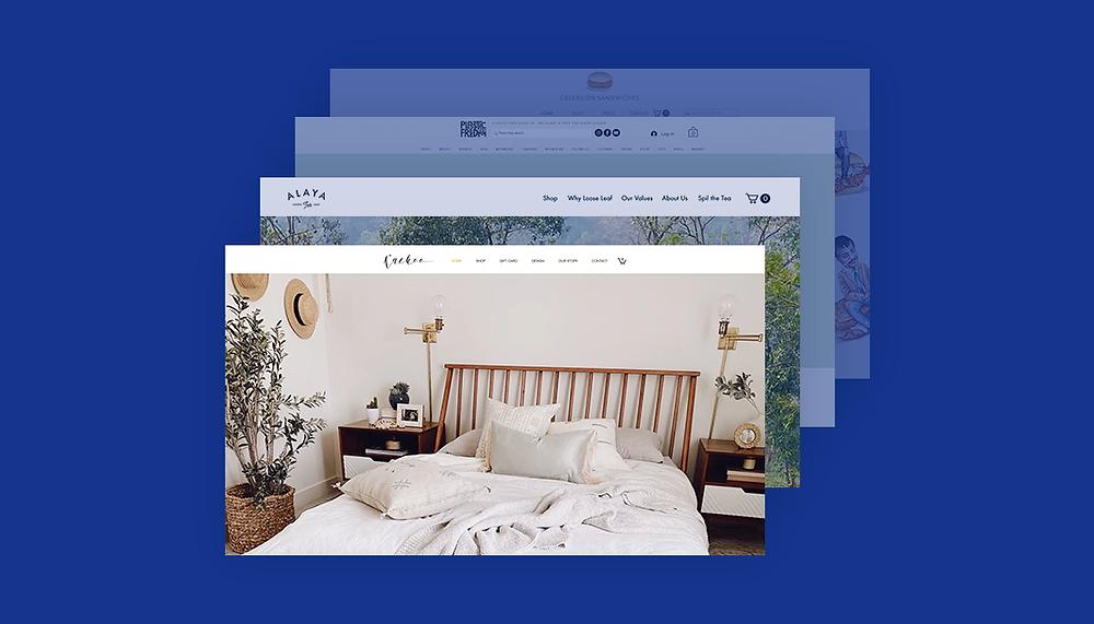 Verschiedene Website Screenshoots vor einem blauen Hintergrund
