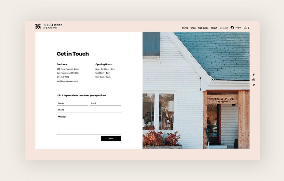 Política de privacidade do site: formulário de contato