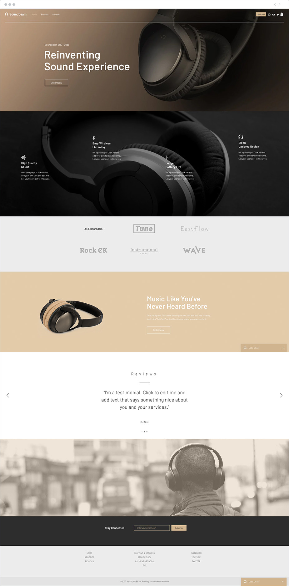 Plantilla de Landing Page para auriculares