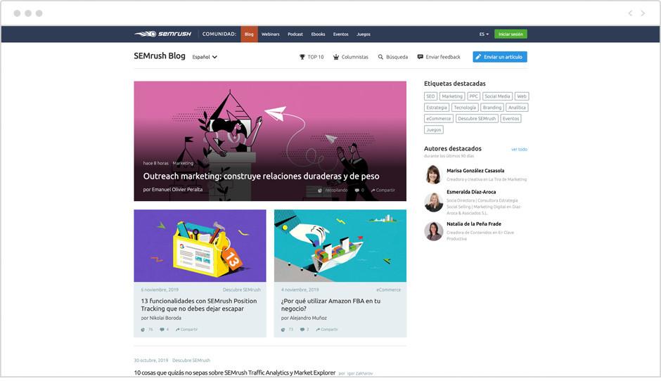 Página de inicio del Blog de SEMRush en español