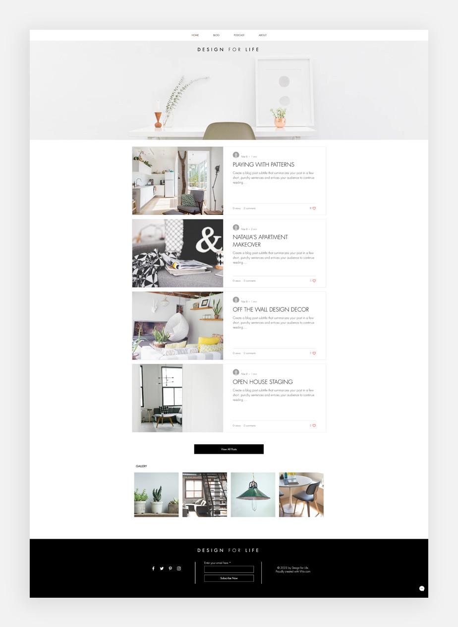 Plantilla de blog de diseño