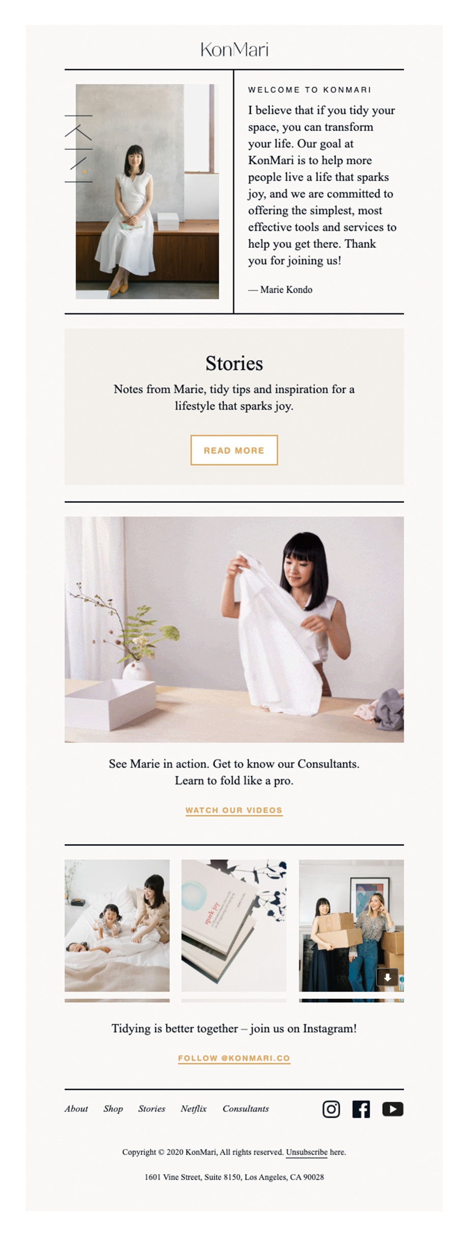 Welcome email by KonMari