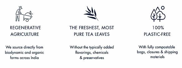Banner sul sito di Alaya Tea che promuove i valori del brand