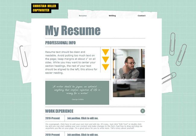 CV en ligne créé avec Wix