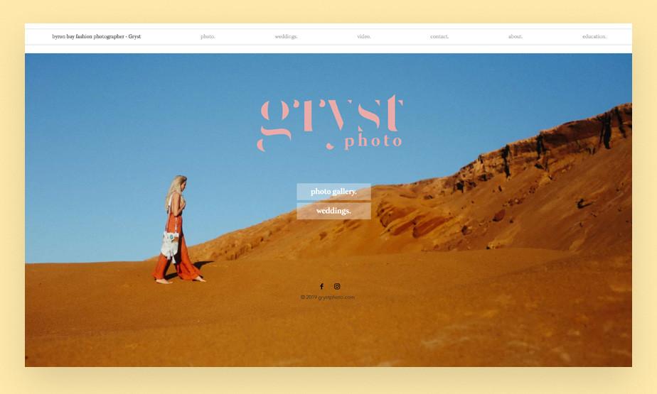 Screenshot da página inicial do site de portfolio de fotografia Gryst Photo