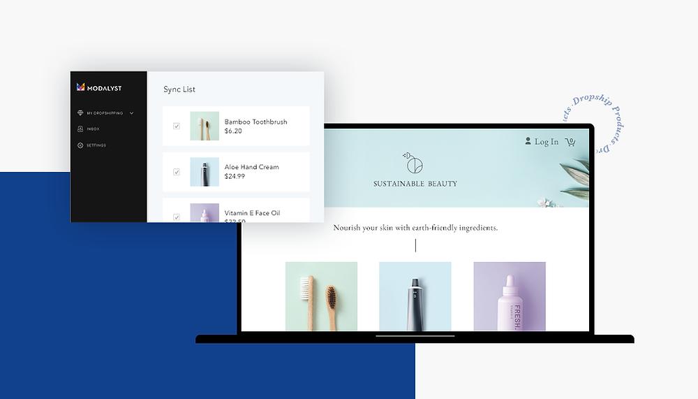 Screenshot verschiedener Websites mit Dropshipping Produkten