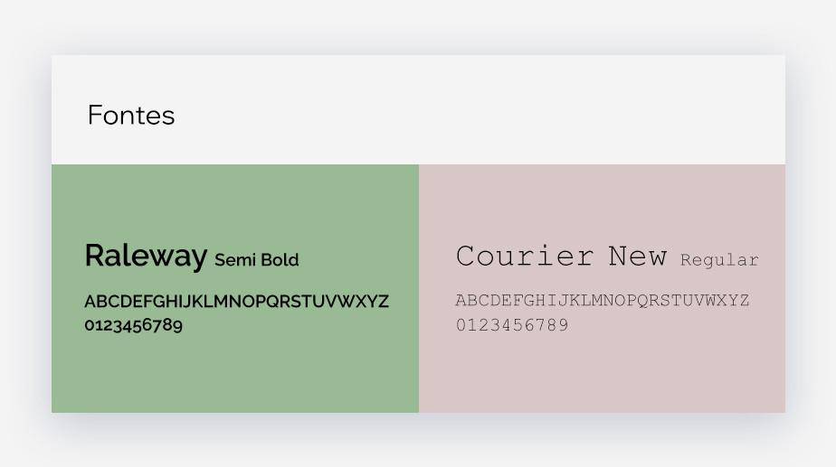 Tipografia escolhida para a marca do mercado Gourmet San Garden (fontes Raleway semi bold e courier New regular)