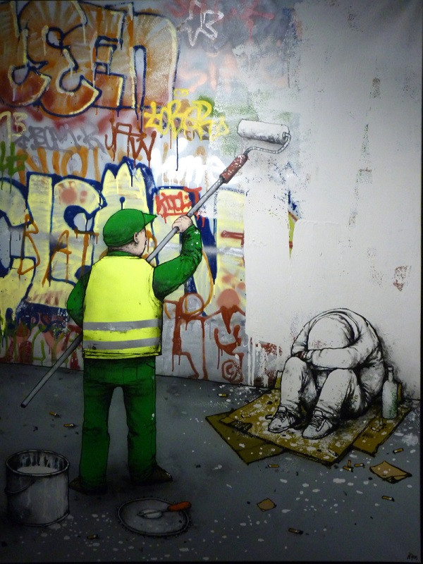 стрит-арт стена граффити