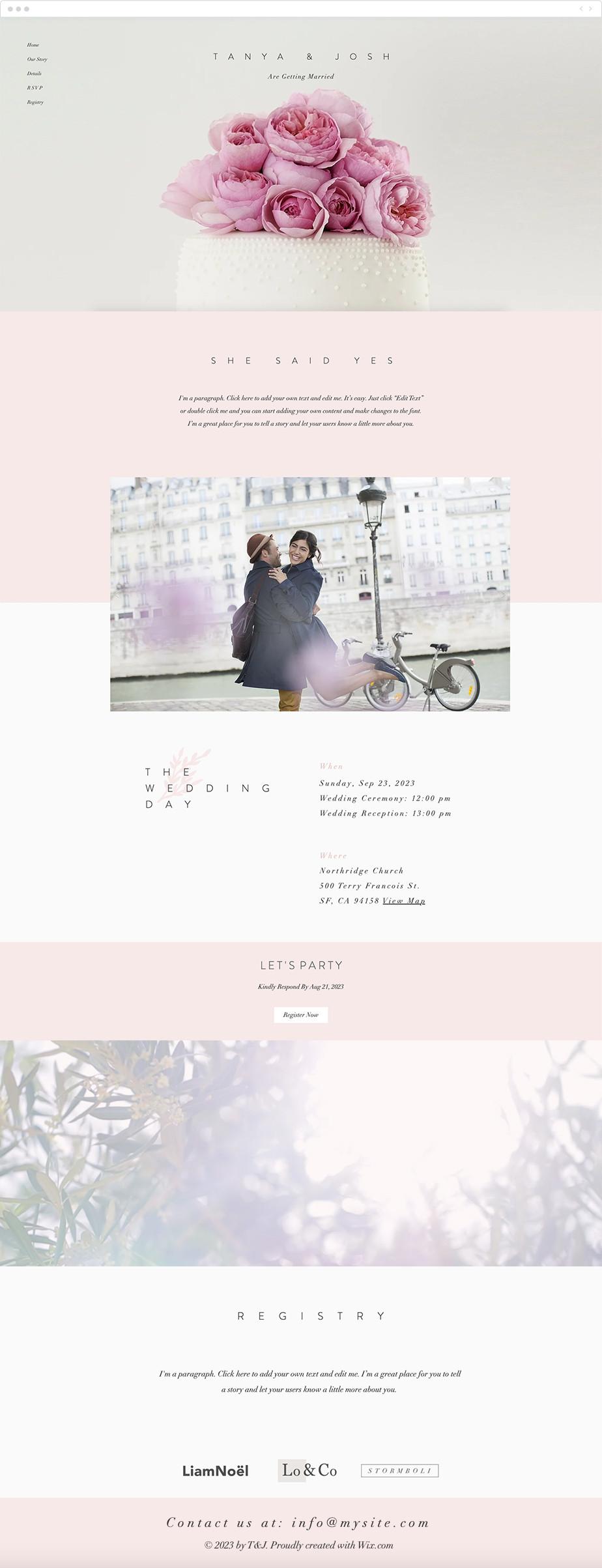 Site de mariage - template romantique